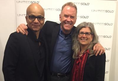 Risa Brainin with Bob Stromberg, writer/director, and Omar Sangare, the Artistic Director of the United Solo Festival (from right to left)