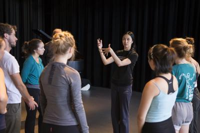 Wong teaches a dance class.